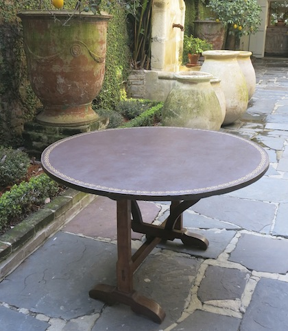 French Antique Round Table Leather Top